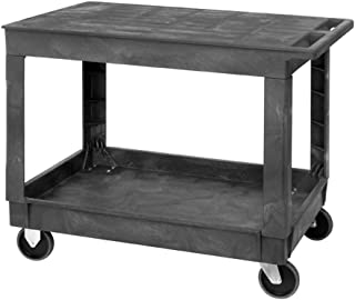 Quantum PFTC4026-33 Flat Top 2-Shelf Plastic Cart, 40-Inch by 26-Inch by 33-Inch, Gray