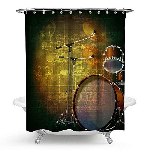 kisy Musik Wasserdicht Bad Duschvorhang kreative Art Musikinstrumente Schlagzeug Musik Note Badezimmer Dusche Vorhang Standard Größe 177,8x 177,8cm schwarz grün