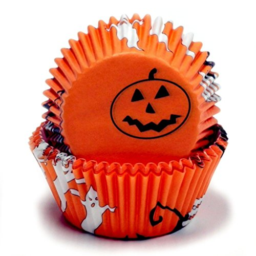 Chef Craft 50 Count Cupcake Liners, One Size, Orange/Black/White