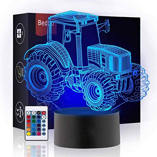 Bedoo Tractor 3D Illusion Night Light, 16 Color Changing Dimmable Lighting, Smart Toy Lamp USB Charge Table Desk Bedroom Livingroom Indoor Decoration, with Remote Control
