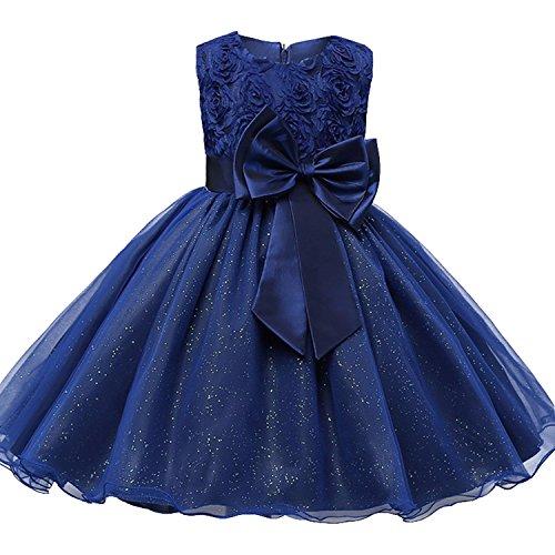 De feuilles Mädchen Kleid Ärmellos Blumen Prinzessin Taufkleid Hochzeit Festlich Kleid Partykleid Geburtstag Blumenmädchenkleid