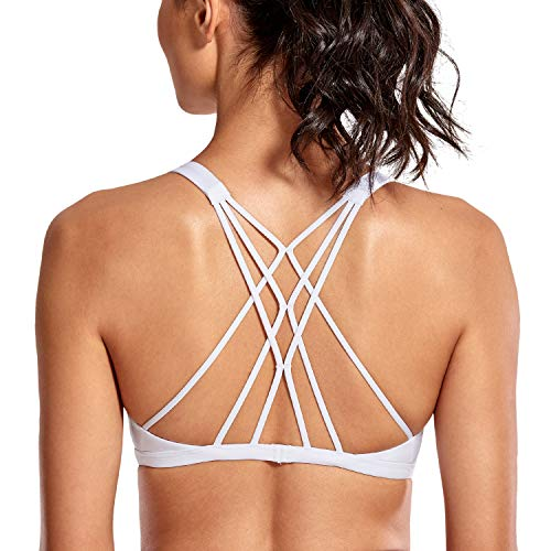 CRZ YOGA Women's Cute Yoga Sports Bra Strappy Sexy Back Padded Low Impact Workout Clothes Bra Tops White S