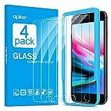 apiker [4-Unidades] Cristal Templado Compatible con iPhone 6s 6 7 8 (4.7 Pulgadas), Protector Pantalla para iPhone 6s 6 7 8, Vidrio Templado con [9H Dureza] [2.5d Borde] [Alta Definición]