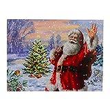 "Northlight Lighted Santa with Christmas Tree Canvas Wall Art 11.75"" x 15.75"""