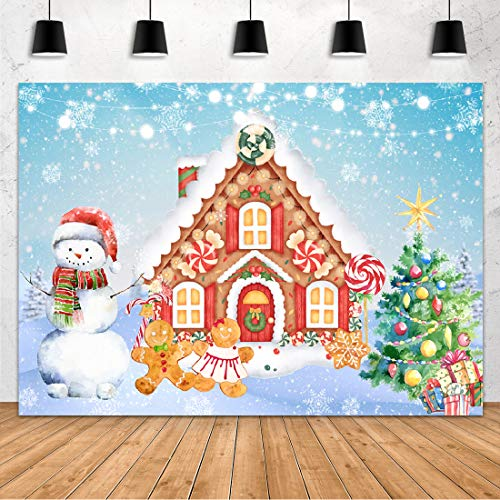 Aperturee Christmas Gingerbread House Backdrop 7x5ft Snowman Winter Merry Xmas Tree Snowflake Candy Gifts Photography Background Baby Shower Portrait Party Decorations Photo Studio Booth Props Banner