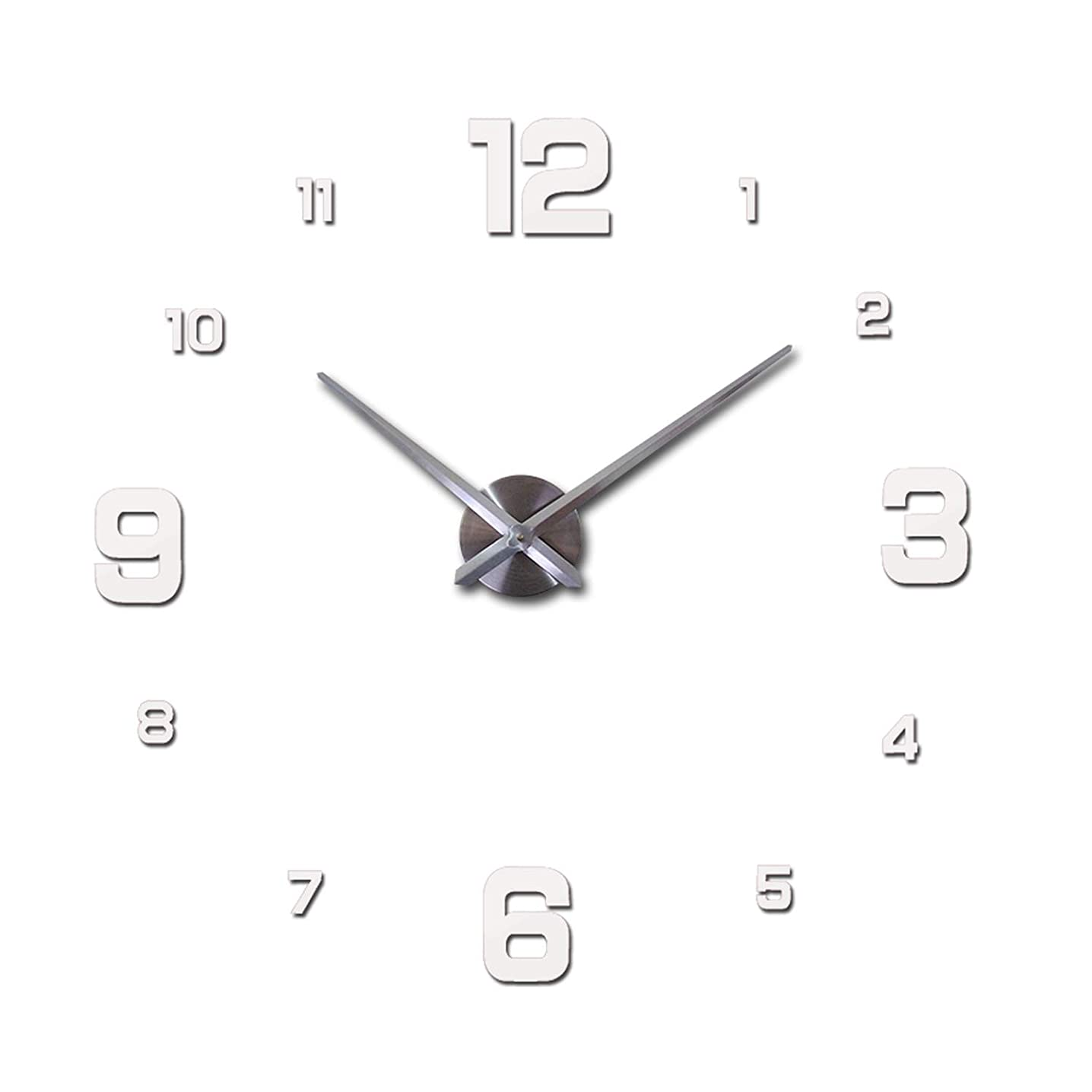 New Real Metal 3D DIY Acrylic Mirror Wall Clock Watch Clocks Home Decoration Modern Needle Quartz Stickers,White,47Inch