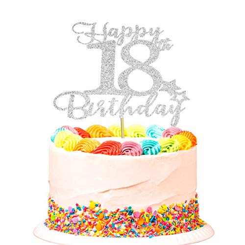 Happy 18th Birthday Cake Topper for 18th Birthday Party Decorations Sign Silver Glitter