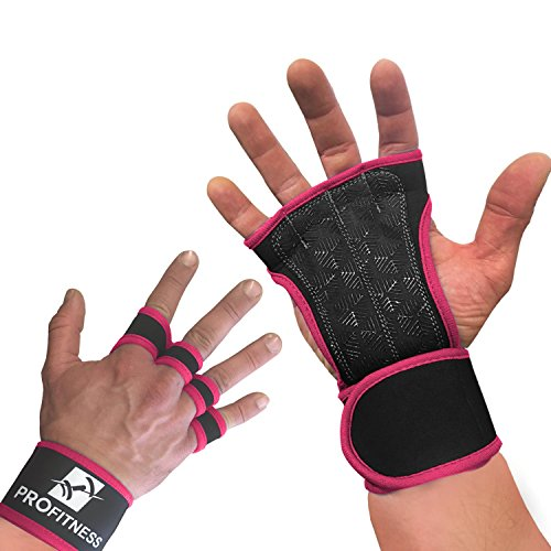 ProFitness Neoprene Workout Gloves with Silicone Non-Slip Grip – WODs, Weightlifting, Cross Training – Wrist Strap Support – Unisex for Men and Women (Pink, Medium)