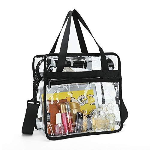 Tragetasche mit Reißverschlusstaschen und abnehmbarem Schultergurt, transparent