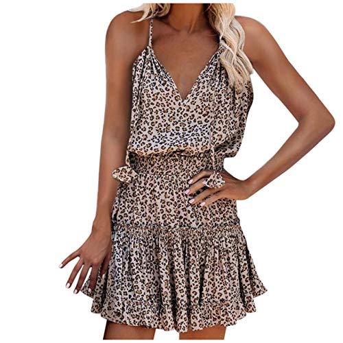 Womens Leopard Print Summer Beach Dress Spaghetti Strap Sleeveless A-Line Style Short Skater Mini Dress Sundress Leopard Print L