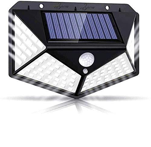Lspcsw - Lámpara solar para exteriores, 270°, iluminación en cuatro lados, 2200 mAh, 100 LED, lámpara solar con detector de movimiento, impermeable, lámpara solar de pared para jardín, patio