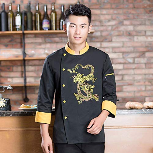 Bycloth Professionelle Kochjacke Langarm-Stickerei-Drachen Element Chef Mantel Arbeits Uniform Koch Kleidung für Hotel/Küche,Gelb,XL