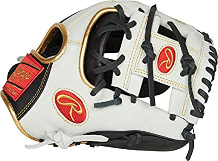 Rawlings Luva de beisebol Encore para jovens, preta, branca, dourada, 29 cm