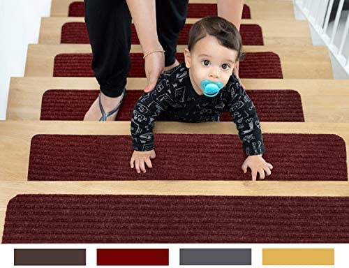 EdenProducts Non Slip Carpet Stair Treads 15 Count 8 x30 Red Pre Applied Adhesive product image