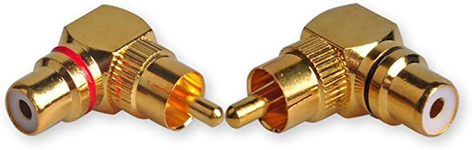 HTTX RCA Male to Female Adapter Right Angle for Audio Subwoofer Connection (2 Pack)