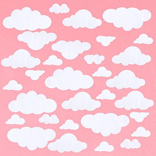 WINOMO 31 stücke Große Wolken Wandtattoos Vinyl DIY Wandaufkleber Removable Wall Art Decor für Wohnzimmer Kinderzimmer Kinderzimmer (weiß)