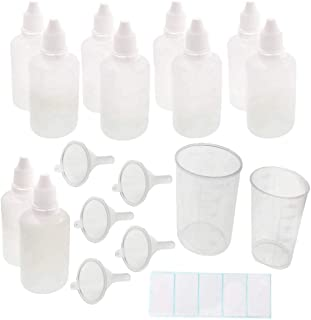 JZK 10 stuks 50 ml knijpbare plastic flesjes, lege vloeibare fles, met mini-trechter en waterdichte etiketten en plastic m...