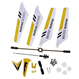 DierCosy Full Replacement Parts Set for Syma S107 / S107G RC Helicopter, Main Blades,Tail Decorations,Tail Blade,Balance Bar,Connect Buckle, Inner Shaft. Yellow Set-