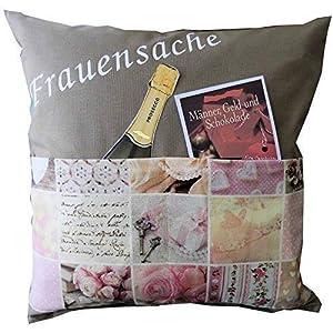 Frauenkissen Frauensache Frauen Kissen Zierkissen Taschenkissen 100% Baumwolle ca. 40x40cm Füllung Polyester (ohne Deko)