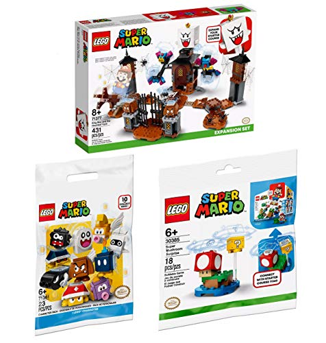 Playset Lego Super Mario King Boo, Super Mushroom Surprise & Super Mario Character Pack Exclusive Building Kit Bundle