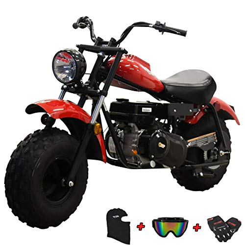 "X-PRO Supersized 200CC Youth Mini bike Gas Powered Mini Trail Bike Scooter mini motorcyle,19"" Wide Fat Balanced Tires! Big headlight! (Red)"