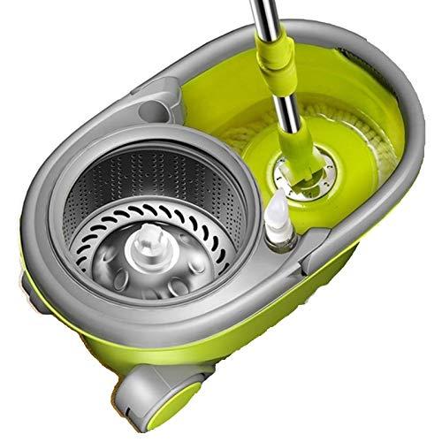 SCAYK Limpieza de Piso Gorra de Lavado a Mano de Lavado de Mano 2 Cabezas de Fibra fácil de retorcimiento Conjunto Cesta de Acero Inoxidable Microfibra Spin Mop & Bucket (Color : Green)
