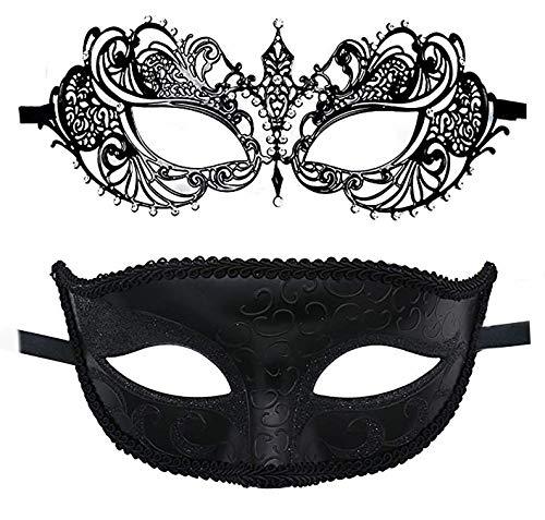 2 Pack Couple Masquerade Masks Laser Cut Metal Venetian Masks Costume Carnival Mask Half Mardi Gras Mask for Party, Prom Black …