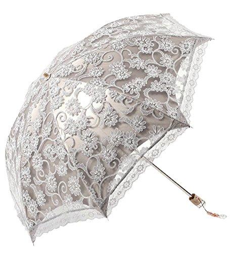 Honeystore Regenschirm, Automatik Taschenschirm Anti UV Regen/Sonne Spitze Regenschirm für Damen Grau