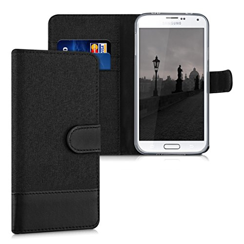 kwmobile Wallet Case Compatible with Samsung Galaxy S5 / S5 Neo - Fabric Faux Leather Cover with Card Slots, Stand - Anthracite/Black