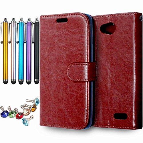 LEMORRY Handyhülle für LG L90 D405 Schale Tasche, Einzigartig Weich TPU + PU Leder Beutel [Kartensteckplätze] und [Bilderrahmen] Stehen Magnetisch Hülle Schutzhülle Schließung Flip Tasche Braun