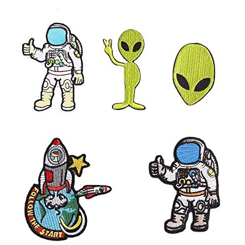 5 parches de ropa, parches bordados aeroespaciales, astronauta, alienígena, adhesivos de calor, para ropa, chaquetas, mochilas, camisetas