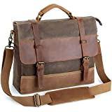 Laptop Messenger Bags 13.5 Inch, Tocode Water Resistant Vintage Canvas Leather Shoulder Crossbody Bag, Durable Computer Bags Business Briefcases Satchel Bag Sling Work Bags for Men and Women, Coffee