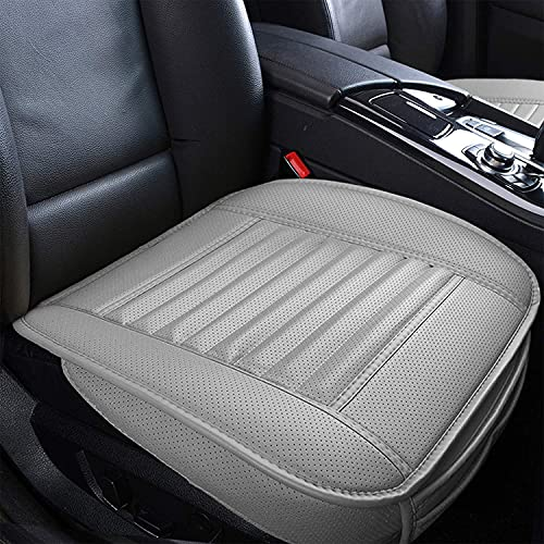 Sunny color 2pc Filling Bamboo Charcoal Edge Wrapping Car Front Seat Cushion Cover Pad for Auto with PU Leather(Gray) ¡