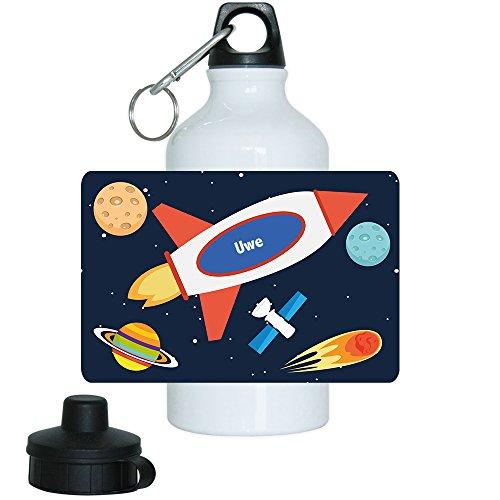 Trinkflasche mit Namen Uwe und schönem Weltraum-Motiv für Jungs