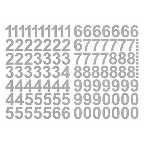 Leicht anzubringende Zahlen Aufkleber 4cm in silber glänzend - 101 HOCHWERTIGE KLEBEZAHLEN - selbstklebende Ziffern und Nummern 0-9 - Wasser und wetterfest ideal für den Außenbereich