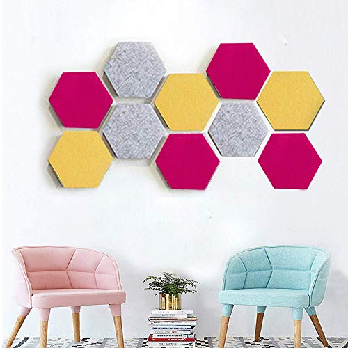 BANNAB Hexagon Felt Bulletin Board Set w/Full Sticky Back, Cork Board Memo Board of Felt Pads Keep Collections Notes Photos Key Colorful Wall Decorative