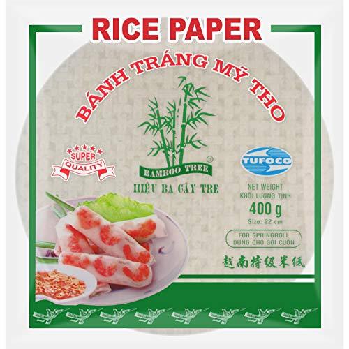 Bamboo Tree Carta di Riso Vietnamita per Involtini Primavera, 22 cms - 400 g