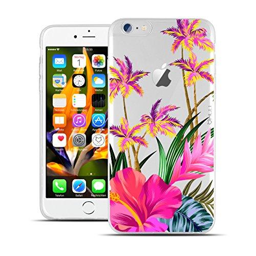 HULI Design Hülle Hülle für Apple iPhone 6 Plus / 6s Plus Smartphone mit Blumen Muster - Handy Schutzhülle klar aus Silikon mit tropischen Pflanzen Sommer Urlaub Paradies Flower - Handyhülle mit Druck