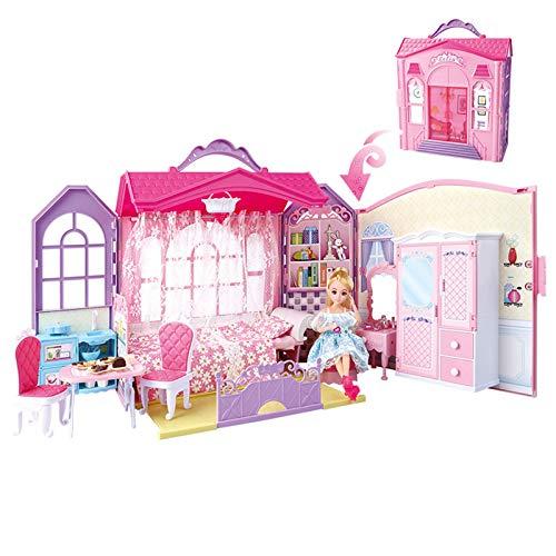 XuZeLii Puppenhausmodell Prinzessin Haus Spielhaus Spielzeughaus Modell Puppen Haus für Kinder Kindergeburtstagsgeschenke Geeignet für die Inneneinrichtung (Farbe : Pink, Size : 33×15×34.5 cm)
