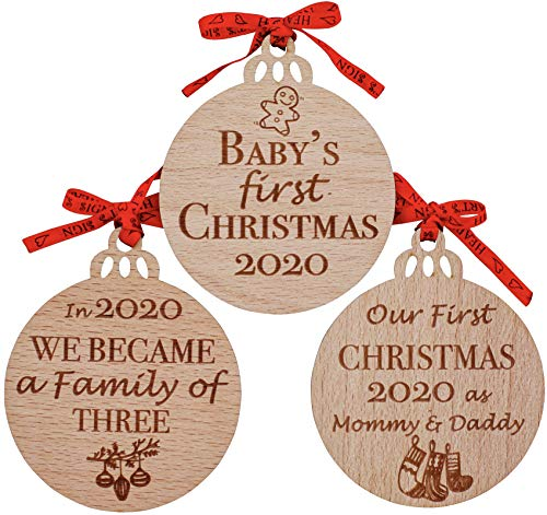 Heart's Sign Set of 3 Babys First Christmas Ornament 2020 | My First Christmas Baby Ornament | Our First Christmas as Mom & Dad Engraved Family Ornament | My First Christmas Tree