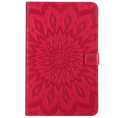 Bear Village® Cover Galaxy Tab e 9.6 Pollice, Multi Funzione Wallet Custodia in Pelle, TPU Bumper Protettiva Cover per Samsung Galaxy Tab e 9.6 Pollice, Rosso