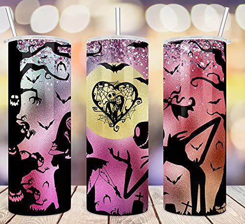 Nightmare Before Christmas Pink Glitter Jack-Skellington Sally Skinny Tumbler, Gift For Nightmare Movie Fans 20oz Insulated Coffee/Tea Stainless Steel Slim Travel Tumbler with Lid