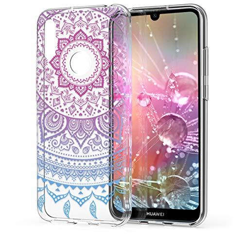 kwmobile Hülle kompatibel mit Huawei Y6 (2019) - Handyhülle - Handy Case Indische Sonne Blau Pink Transparent