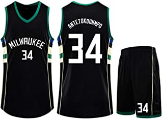 Jersey Suit Milwaukee Bucks 34#Giannis Antetokounmpo Basketball Uniform Sleeveless Vest Sports Shorts Sweatshirt Men's Fitness Competition Casual Suit,Black,2XS