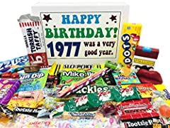 Contains 30 different kinds of retro nostalgic candy for an unforgettable 43rd birthday gift 1977 birthday gift box will bring back great childhood memories Makes a fun and festive gift for any candy lover Great for someone who has everything Box mea...