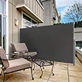 "sunseen Side Awning Retractable Patio Awning Folding Screen Fence Privacy Wall Corner Divider Indoor Room Divider Garden Outdoor Sun Shade Wind Screen with Steel Pole (L 118"" x H 63"", Dark Grey)"