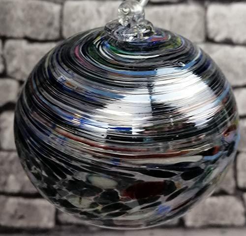 Oberstdorfer Glashütte Kugel zum hängen Bunte Glaskugel Ornament schwarz bunt gelüstert mundgeblasenes Kristallglas Fensterdekoration Durchmesser ca. 9 cm