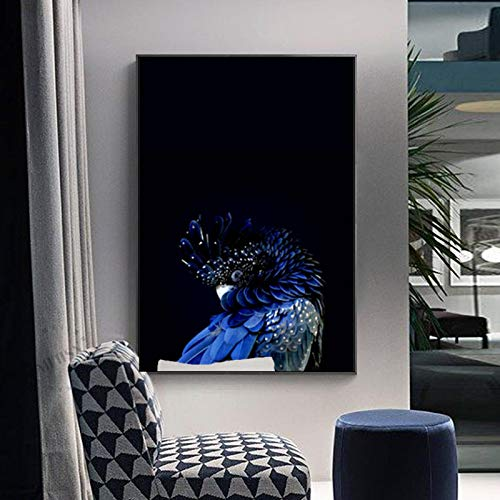 XIANGPEIFBH Modern Nice Blue Cockatoo Poster Birds Canvas Paintings Interior Wall Art Pictures Prints for Aisle Living Room Home Decor 45x60cm(18'x24') Unframed