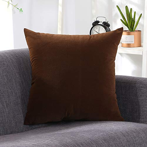 Meet Beauty Velvet Cushion Covers Square Throw Pillow Case for Livingroom Sofa Bedroom Car 50 x 50 cm (20x20 Inches) Large Set of 2 Brown