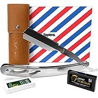 Navaja de Afeitar de Barbero de Sapiens - Accesorio Profesional de Afeitado y Cuidado de Contorno de Barba con 10 Cuchillas Derby (o sea 20 Hojillas Simples) - Silver Edition